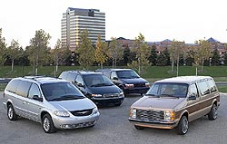 Four generations fo Chrysler minivans