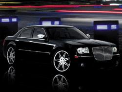 Upsized wheels on a Chrysler 300 sedan