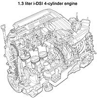 Schematic - Hybrid 1.3 litre engine
