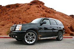 An Escalade with low-profile ATRs in the Valley of Fire