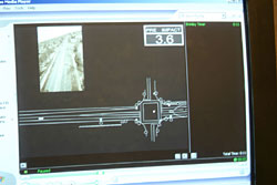 A computer program shows an animation of the collision, which the officers program using such evidence as tire marks, impact area and crush calculations. The program also includes animated vehicles superimposed on an actual aerial shot of the crash scene