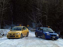 Mitsubishi Lancer Evo (left)and Subaru STi