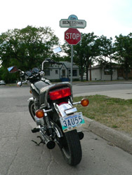 Michael Clark's Yamaha waiting for the fledgling motorcyclist to summon the courage to venture onto Winnipeg's busy Henderson Highway for the first time.