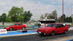 Drag racing at J-Body Bash and GM Compact Car Show