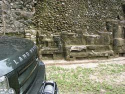 Land Rovers at the Mayan ruin of Caracol