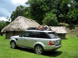 Range Rover at the Mayan ruin of Caracol