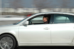 Greg Wilson driving the 2005 Toyota Avalon during dynamic testing