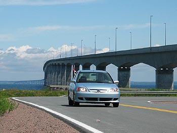 Civic Hybrid near Confederation Bridge, PEI
