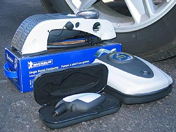 Michelin tire pressure gauge and air pumps