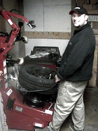 Bob Blakeborough at the tire machine
