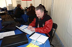 Autos's Paul Williams working hard in the AJAC tent