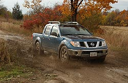 Nissan Frontier getting down and dirty at the off-road track