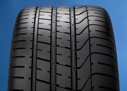 The new tire - note the asymetrical tread pattern