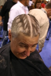 Author Jil McIntosh proved she'll do anything for a free haircut