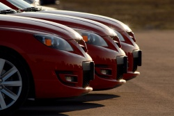 The trio of MazdaSpeed3s Mazda sent to TestFest for evaluation