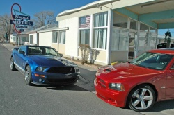 Shelby GT500 and Charger SRT-8 in Seligman, Arizona