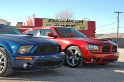 Shelby GT500 and Charger SRT8 at the Roadkill Café