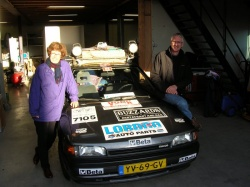 Hazel and Ron Postma leaving Holland with their 1990 Mazda 323 Dec. 18, 2006