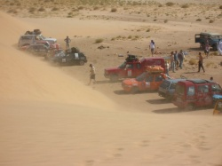 Cars in the sand