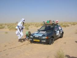 The Mazda stuck in the sand in Sahara in Mauritania