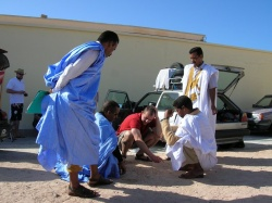Hiring guides at a campsite in Dakhla Western Sahara