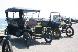 Model Ts on the pier in Cobourg, Ontario