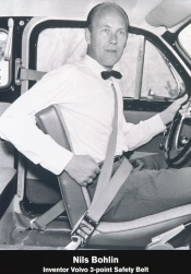 Nils Bohlin invented the first three-point safety belt in 1959