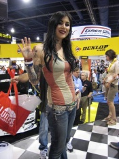 Kat Von D of Miami Ink and LA Ink TV shows appeared at Dunlop Tire booth