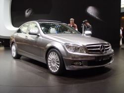 The third-generation C-Class sedan was unveiled at the Geneva Motor Show in March of this year. The model shown here is equipped with the new Bluetec diesel engine.