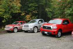 Dodge Dakota (left) and two Toyota Tundras