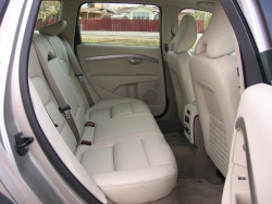 Volvo integrated booster seat in a 2008 XC70 collapsed flush with rear bench