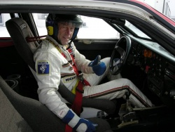 John Buffum behind the wheel of Michelle Mouton and Fabrizia Pons quattro rally car