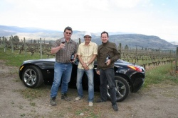 2008 Pontiac Solstice GXP; Fairview Cellars, Oliver BC; Bill Eggert (proprietor of Fairview, left), Peter Bleakney and Gary Craig (right)
