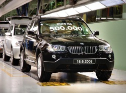 Five years after the introduction of the BMW X3 compact SUV, the company has built its 500,000th unit.