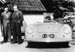 Original black and white photograph of Porsche #1 with Prof. Ferdinand Porsche and Dr. Ferdinand \'Ferry\' Porsche. Used by permission of the Pebble Beach Concours d'Elegance. All rights reserved.