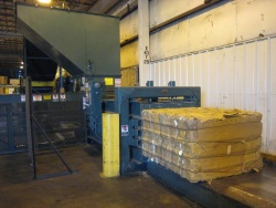 Cardboard is now baled and recycled but will eventually be eliminated.
