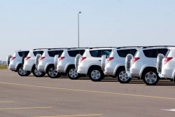 RAV4s waiting to be delivered