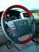The LX 570's steering wheel is power adjustable