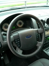 Steering wheel audio and cruise buttons are larger than in other Ford vehicles