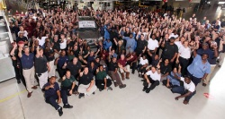 Workers at the Mercedes-Benz Tuscaloosa, Alabama plant with the one-millionth M-Class