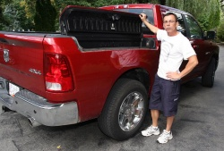 Horse breeder Mike Pesek checks out the RamBox on the 2009 Dodge Ram.