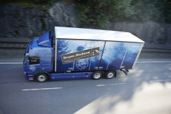 Volvo test truck runs on methane gas and diesel