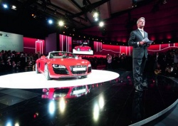 Rupert Stadler, Chairman of the Board of Management of AUDI AG, and the Audi R8 Spyder.