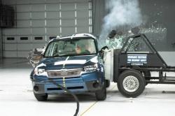 Action shot during IIHS side impact crash test