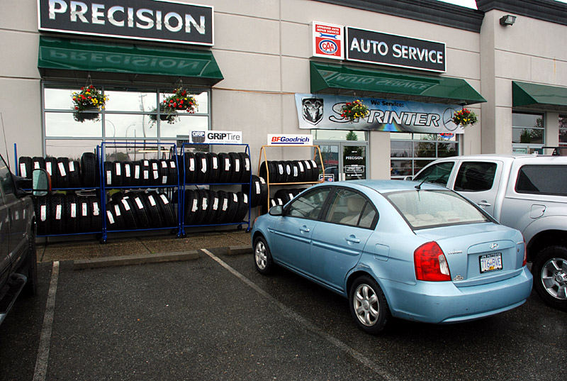 The 2006 Hyundai Accent gets new tires at Precision Automotive in Langley, BC