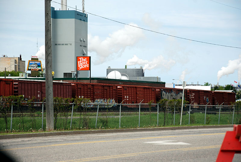 The view in 2011 of the railroad track in Dryden, Ontario.  This is where the author hopped his first and last freight train.