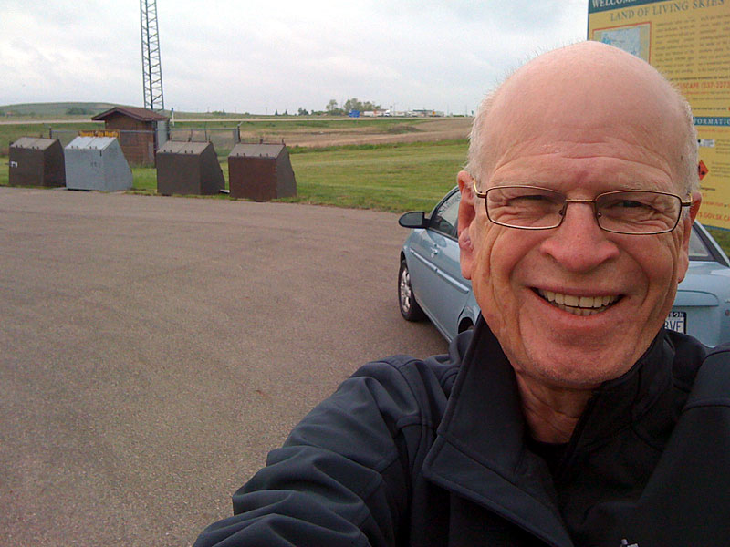 The author at the Alberta/Saskatchewan border