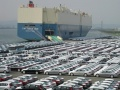 Hyundai vehicles wait loading onto container ships at Ulsan factory, Ulsan, Korea