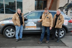 6th Cayenne Artic Route Adventure: from left, Rick Bye, Porsche Canada, Rob Rothwell, auto123.com, Tony Morris, Porsche Canada, in Valdez, Alaska