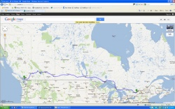 The route from Vancouver to Ottawa, 4500+ kilometres, 4.5 days, Trans-Canada Highway all the way.